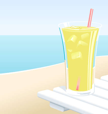 Cold glass of lemonade with ice, at the beach in the Summer.
