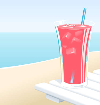 Cold glass of fruit punch or pink lemonade with ice, at the beach in the Summer.