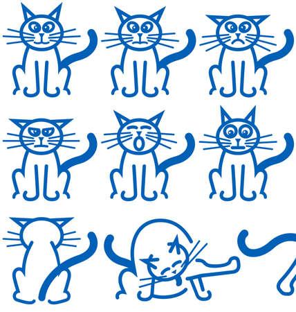 De negen meest voorkomende uitingen van emotie, van een typisch huishouden cat. Stock Illustratie