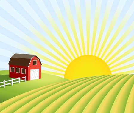 Illustratie van een boerderij en velden bij zonsopkomst.