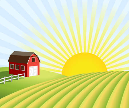 Illustration of a farm and fields at sunrise. Illustration