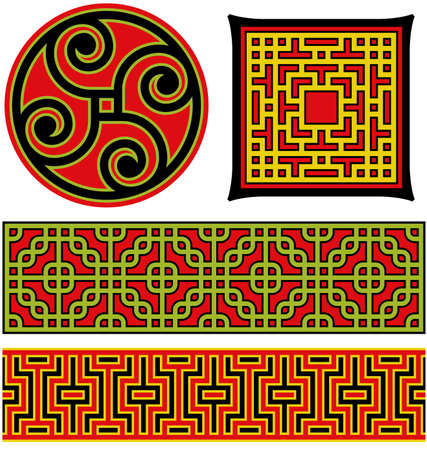 Several vector illustrations of Chinese patterns and lattice work. Illustration