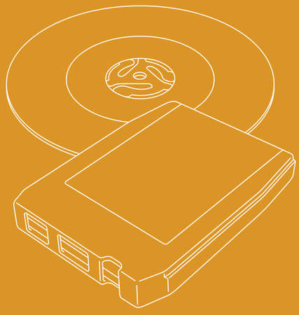 Vector line art illustration of a retro 8-track tape and a 45 RPM single record.