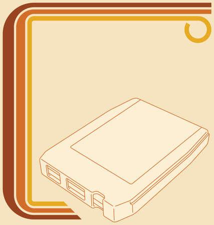 musica electronica: Ilustraci�n vectorial de una frontera retro a�os 70 y un 8-pista de la cinta.
