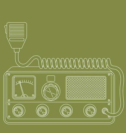 レトロな CB ラジオのベクトル線アート イラスト。