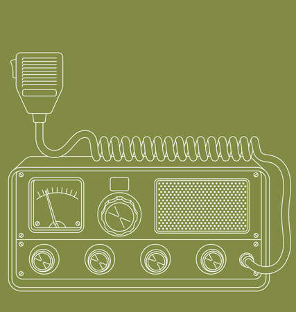 Vector line art illustration of a retro CB radio.