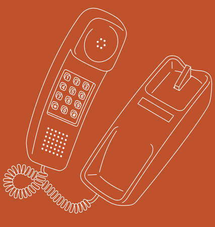 Vector line art illustration of a retro corded telephone.