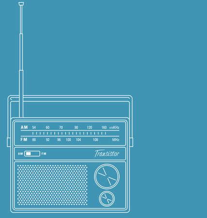 Vector lijntekeningen illustratie van een retro transistor radio.