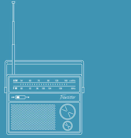 Vector line art illustration of a retro transistor radio.