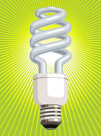 Vector illustration of a CFL (compact fluorescent lamp), with green radiating light beams. Ilustração