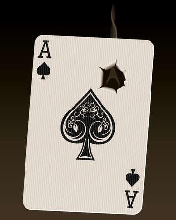 gaten: Foto-realistische vector illustratie van de Ace of Spades (bekend als de Death Card), met een rokende kogelgat.