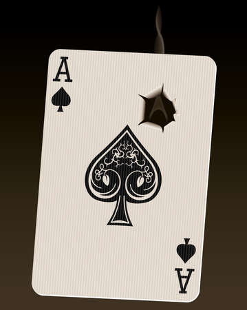 Photo-realistic vector illustration of the Ace of Spades (known as the Death Card), with a smoking bullet hole. Vector