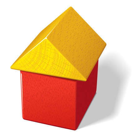 Photo-realistic vector illustration of a house built with two toy blocks. Multi-layered for editing.