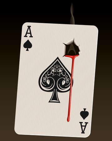 Foto-realista de la ilustración vectorial Ace of Spades (conocida como la Tarjeta de muerte), con un orificio de bala de fumar y la sangre. Ilustración de vector