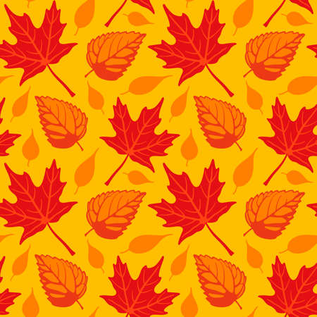 Vector illustration of a seamless repeating pattern of Autumn leaves over gold background. Illustration is composed from four separate grouped tiles.