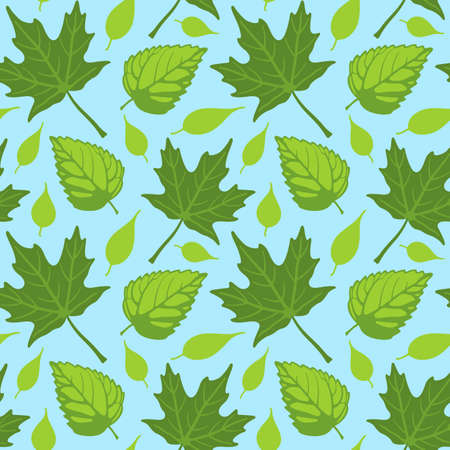 Vector illustration of a seamless repeating pattern of Summer leaves over blue sky background. Illustration is composed from four separate grouped tiles.
