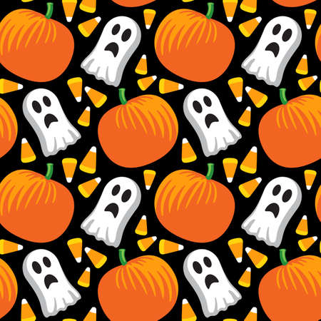 Vector illustration of a seamless repeating pattern of Halloween elements. Illustration is composed from four separate grouped tiles. Illustration