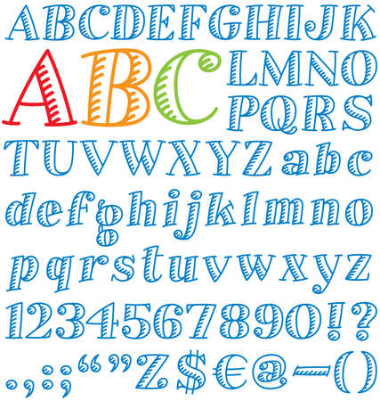 Vector illustration of a cartoon font. Includes upper and lower case, numerals, punctuation, and symbols.