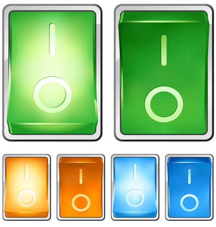 Vector illustration of a rocker switch, with both on and off positions. Switch is lighted when in