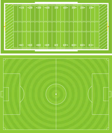 illustration of Football (Soccer) and American Football fields. Accurately proportioned.