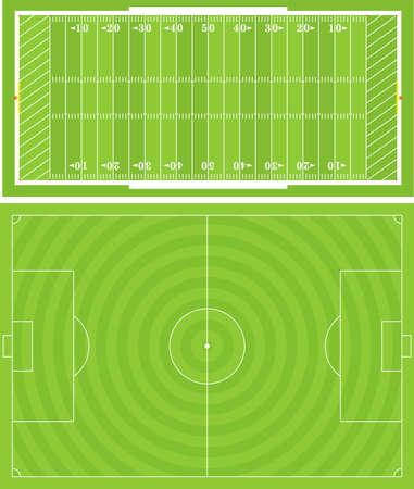 field  soccer: Ilustraci�n de campos de f�tbol americano y f�tbol (Soccer). Proporcionadas con precisi�n.  Vectores