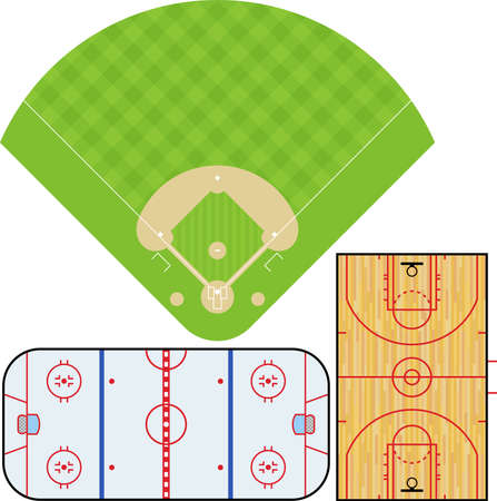center court: illustration of Baseball field, Basketball court, and Ice Hockey rink. Accurately proportioned. Illustration