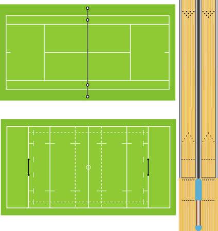 테니스 코트, 럭비 필드 및 10 핀 볼링 레인의 그림. 정확한 비율. 일러스트