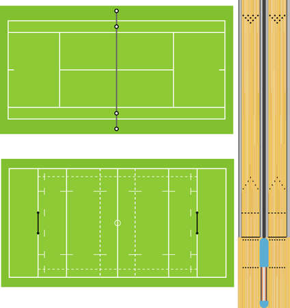 lane lines: illustration of Tennis court, Rugby field, and Ten Pin Bowling lanes. Accurately proportioned.