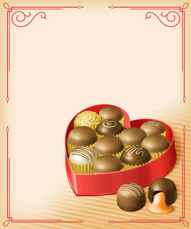 Vector illustration of a heart-shaped Valentines box of chocolates, in a vintage Victorian style. Multi-layered for editing. File is RGB, but all colors are CMYK-safe.