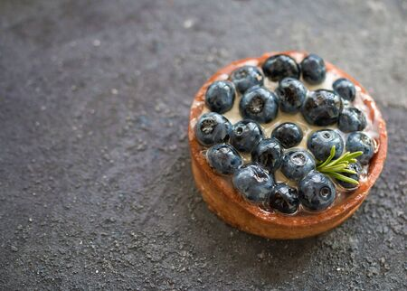 Delicious blueberry tartalet with vanilla cream on a grey background. Top view. Selective focus. Reklamní fotografie
