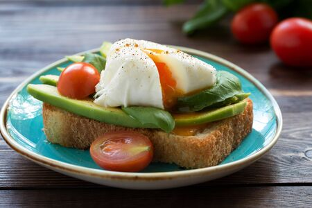 A piece of grilled white bread with egg, fresh basil leaves on a blue plate and small tomatoes. Stockfoto