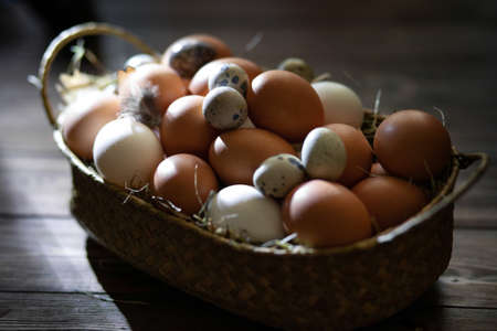 Easter zero waste. Chicken and quail eggs in a basket on a wooden table. Cozy religious holiday of Easter, eco-concept of eco-friendly decor. Farm products