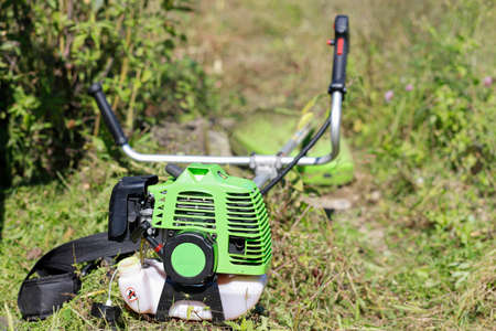 The hand trimmer of the Gasoline mower lies on the mown grass.