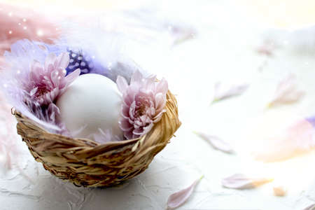 Easter egg in the small nest with feathers and flower petals on a light background. Painted quail eggs. Copy space. The Easter concept. Happy Easter