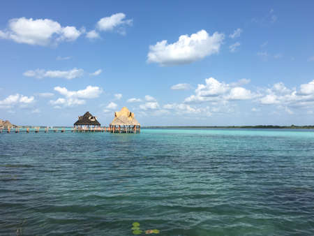 Laguna Bacalar Mexico with palm huts