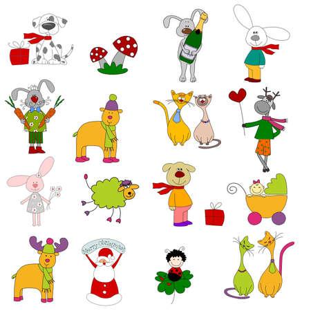 Insieme di personaggi dei cartoni animati