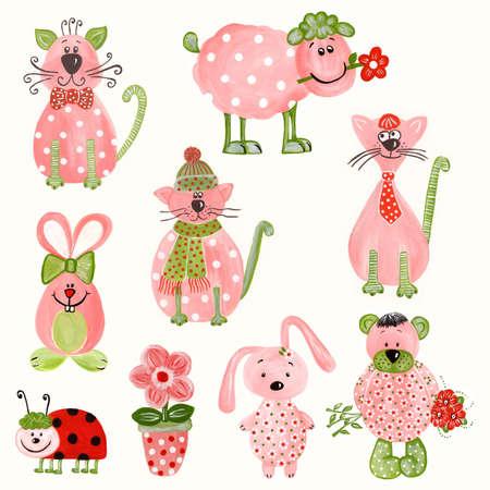 Set of cartoon characters. Stock Photo