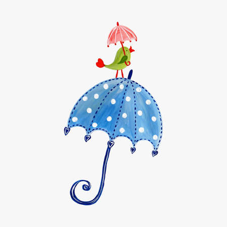 Birdie on umbrella Stock Photo