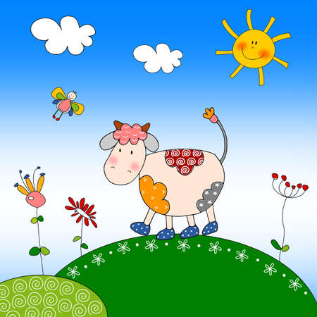 Illustration for children - Cow 스톡 콘텐츠