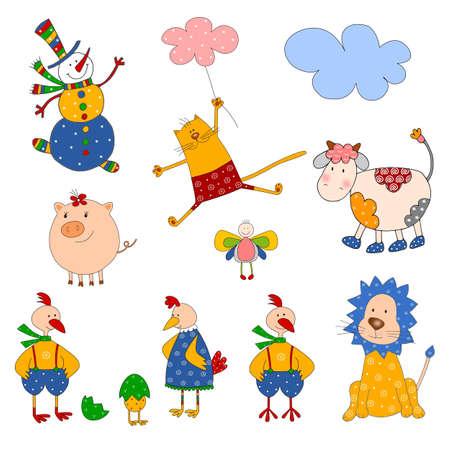Set of isolated cartoon characters photo
