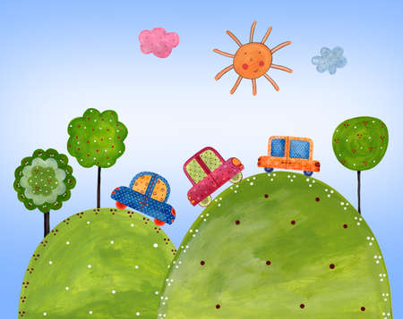 Cartoon landscape photo