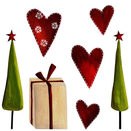 christmas watercolor: Set of decorative elements
