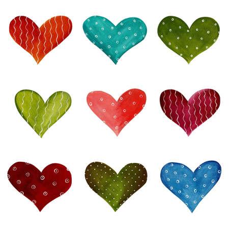 christmas watercolor: Hearts - decorative elements