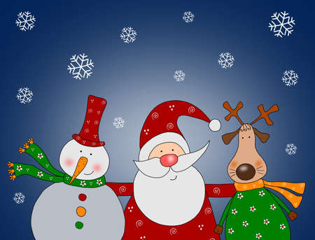 Santa Claus, Snowman and Reindeer photo