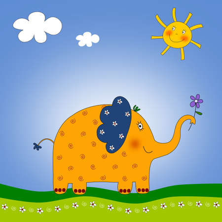 The Elephant  Colorful graphic illustration illustration