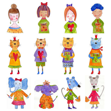 Set of cartoon characters Stock Photo