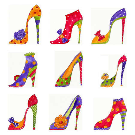 shoe print: Fashion shoes pattern