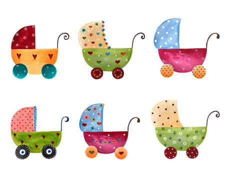 Artwork  Set of baby prams
