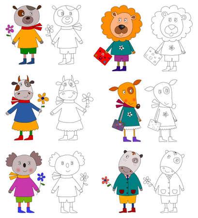 leon de dibujos animados: Coloring book. Animales domésticos
