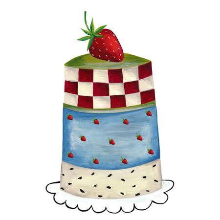 Greeting card  Strawberry cake photo